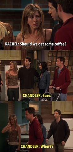 It had to have been a tough call to decide whether the final scene of Friends should be in the apartment or in Central Perk, so it's wonderful that the gang's hangout got an indirect shout-out in the final lines. Serie Friends, Friends Moments, Friends Tv Show, Friends Forever, Friends Cast, Friends Episodes, Crazy Friends, Close Friends, Funny Moments