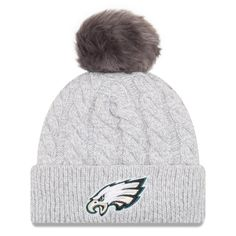 5b5915f6806 Women s Philadelphia Eagles New Era Gray Toasty Cuffed Knit Hat with Pom