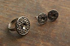 Handmade Button Vintage Earrings & Ring, #whitelilydesign