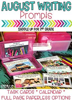 This set of 28 August themed writing prompts. These back to school writing prompts come in a task card, calendar and full page version. Each card has a kid friendly writing prompt and a real life photo to match. Graphic organizers and writing paper are included. These are the perfect addition to your writing center.