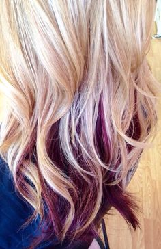 Beautiful hair color... Black cherry under blonde