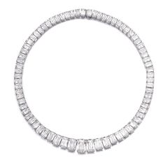Diamond necklace, William Goldberg Composed of a row of graduated round-cornered modified brilliant-cut diamonds, length approximately 415mm, inscribed Ashoka, numbered, maker's mark for William Goldberg.