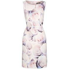 BOSS Dinoma Floral Dress, Open Mix ($515) ❤ liked on Polyvore featuring dresses, floral dresses, pink floral dresses, pastel dresses, floral shift dress and sleeveless shift dress
