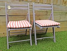 two deck style folding chairs by RosesUpcycled on Etsy, $60.00