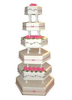 Yndig bryllupskage med blomsterranker og roser