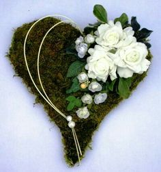 Beautiful Heart Shaped Wreath - made from Moss, Flowers, Ribbons and Beads Funeral Flower Arrangements, Flower Arrangements Simple, Funeral Flowers, Grave Decorations, Flower Decorations, Valentine Day Wreaths, Christmas Wreaths, Funeral Tributes, Memorial Flowers