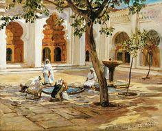 Algérie  -  Peintre American  Frederick Arthur Bridgman(1847-1928), huile sur toile 1896 , Titre : Djamaa el Kebir  Tlemcen