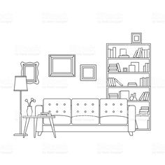 Line interior of living room with furniture. vector thin illustration of living room. Drawing Interior, Interior Design Sketches, Gestion Administration, Living Room Vector, Architecture Concept Drawings, Classical Architecture, Perspective Drawing Lessons, Elevation Drawing, Minimalist Drawing