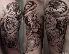 Rose and watch arm sleeve tattoo