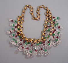 Miriam Haskell lush necklace with faceted clear, and round red and green glass beads. Frank Hess design for Miriam Haskell circa 1940