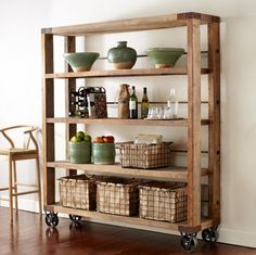 Recycled Pine Wood bookcase - smaller to hold microwave, etc in kitchen