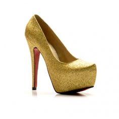 Dazzling and Elegant Style Sequins Embellished Simple Design High-Heeled Shoes For Female