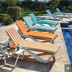 Pool Furniture Ideas pool lounges with white cushion and black and white lumbar pillows Pool Chairs