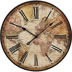 Vintage Style Wall Clock Kitchen Home World Map Globe Rustic Clocks Bedroom World Clock, World Map Wall, Basement Inspiration, Clocks Inspiration, Room Inspiration, Retro Living Rooms, Kitchen Wall Clocks, Wall Clock Online, Map Globe