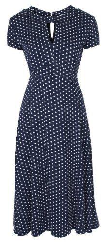 Lindy Bop 'Juliet' Classy Blue Polka Dot Vintage Ww2 Landgirl 1940s 1950s Pinup Retro Tea Dres