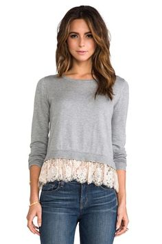 Alice by Temperley Odille Frill Jumper em Grey Mix | REVOLVE