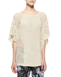 Wide-Knit Flutter-Sleeve Top, White - Thakoon Addition