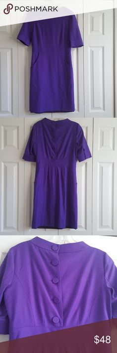 J Crew wool button back purple dress Great condition. Beautiful royal purple color with unique button back and wool outer lining. Size 2. J. Crew Dresses Midi