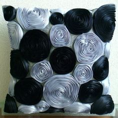 Black Roses - Throw Pillow Covers - 16x16 Inches Silk Pillow Cover with Satin Ribbon Embroidery