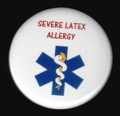 Medic alert button  Severe latex allergy by SwankSpecials on Etsy, $3.00