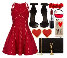 """""""Hot Red Dress"""" by fattie-zara ❤ liked on Polyvore featuring Isabel Marant, Yves Saint Laurent, MAC Cosmetics, Casetify, DKNY, women's clothing, women, female, woman and misses"""