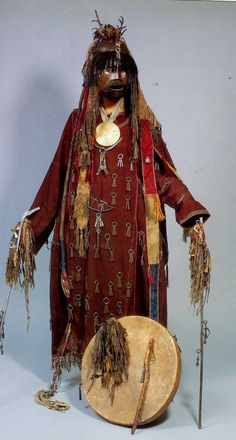 Shamon costume with copper mask , Mongolia late 18th . early 19th c