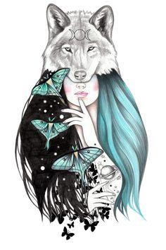 beautiful designs of Andrea Hrnjak Cosmic Love Art, drawings, paintings, illustrations - Art on Paper Online Art Drawings Sketches, Cute Drawings, Animal Drawings, Pencil Drawings, Wolf Artwork, Animal Paintings, Love Art, Art Girl, Painting & Drawing