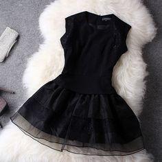 Cheap Elegant Black Organza Lace Dress&Party Dress For Big Sale! Latest Fashion Dresses, Skirt Fashion, Fashion Outfits, Womens Fashion, Teen Fashion, Cheap Fashion, Girl Outfits, Unique Dresses, Cute Dresses