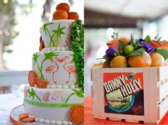 Check out the orange slices and flamingoes on the wedding cake.