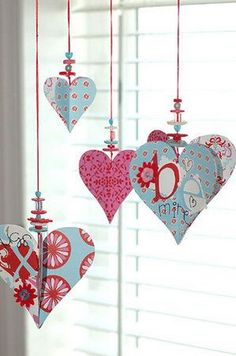 Unique Homemade Valentine Card Design Ideas Hanging scrapbook paper and buttons hearts. Photo only for (p)inspiration.