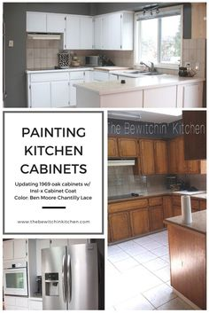 Transforming a 45 year old kitchen just by painting kitchen cabinets. This dated kitchen had old, oak cabinets that needed a little life. Products used: INSL-X Cabinet coat tinted in Benjamin Moore Chantilly Lace. Nothing like a little DIY renovation to s Old Kitchen, Kitchen Paint, Kitchen Cupboards, Kitchen Ideas, Kitchen Redo, Bakers Kitchen, Soapstone Kitchen, Kitchen Counters, Countertops