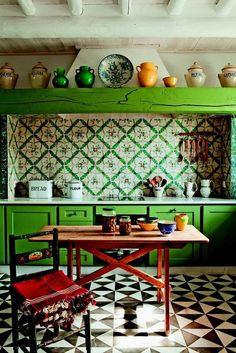 """While this isn't my taste, I do love it! """"20 OF 27 'going all in'. If a country kitchen is on the horizon from you, don't be afraid to make major moves with color. (+ if color is what you're craving, there are plenty more backsplashes to check out here)!"""