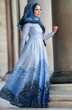 Blue flowers design abaya