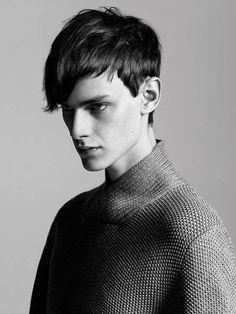 getyourknittogetherblog:  gosmoke:  Douglas Neitzke  Simple moss-stitch sweater is updated with a beautiful ribbed shawl neck. Little detail...