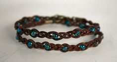 Beaded Braided Leather Wrap Bracelet - AB Teal beads. $18.50, via Etsy.