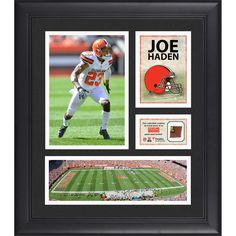 """Joe Haden Cleveland Browns Fanatics Authentic Framed 15"""" x 17"""" Collage with Game-Used Football - $79.99"""