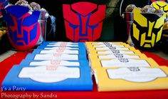 autobot symbol on buckets* Transformers Birthday Party - Kara's Party Ideas - The Place for All Things Party