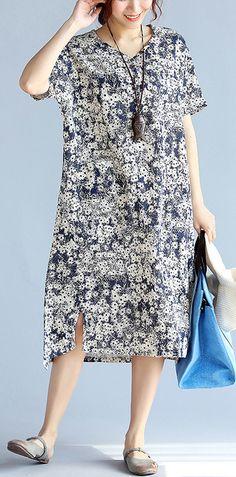dark-blue-prints-Midi-linen-dresses-plus-size-clothing-women-side-open-v-neck-midi-dress2
