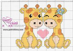 schema punto croce giraffe innamorate - cross stitch pattern giraffes in love - . Cross Stitch Baby, Cross Stitch Charts, Cross Stitch Designs, Cross Stitch Patterns, Giraffe Crochet, C2c Crochet, Crochet Chart, Diy Pillow Covers, Stitch Cartoon
