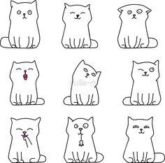 'Nine cute white kittens' Sticker by yulia-rb - Katzen Doodle Drawings, Doodle Art, Easy Drawings, Animal Drawings, Kawaii Doodles, Cute Doodles, Tier Doodles, Draw Tutorial, Simple Cat Drawing