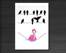Bird's on a wire. Flamingo Greetings card