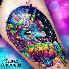 ✨Laura KiraKira is a lifestyle brand inspired on magical girls, kawaii Tokyo life, unicorns and other whimsical creatures with an obsession with. Sweet Tattoos, Girly Tattoos, Badass Tattoos, Love Tattoos, Beautiful Tattoos, Picture Tattoos, Body Art Tattoos, Kawaii Tattoos, Classy Tattoos