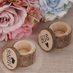 "2pcs "" His and Hers "" Wedding Ring Holder Pillow Box Vintage Wedding Decor"