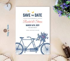 Vintage Tandem Bicycle Save The Dates Yellow And Royal Blue Wedding Date Cards Printed Unique With Erflies