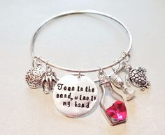 Toes in the Sand Wine in my Hand - Wine Lover's Beach Bracelet Vacation Bangle