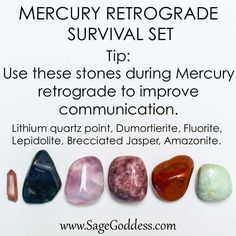 ✨The time has come to enjoy another Mercury Retrograde✨❣ To help aid the waters of the Retrograde, try putting together your Survival Kit! Use these stones to improve communication during Mercury Retrograde. Lithium Quartz, Tarot, Mercury Retrograde, Mercury In Retrograde Meaning, Stones And Crystals, Healing Crystals, Healing Stones, Wicca Crystals, Gem Stones