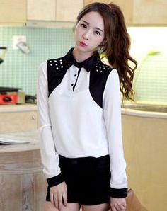 Korean Women beaded long-sleeved shirt