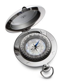 The Voyager Compass is perhaps the best-known of all Dalvey compasses.  It's unique pull-pommel catch, tactile shape, and iconic design make it a classic of the range.  This compass features an exceptionally fine-detailed dial combining stunning, iridescent mother-of-pearl with intricate texturing and mirror-polished detailing in the compass rose and increments.  The lustrous blue-tipped needle is echoed in subtle details at the cardinal points. #dalvey, #compass, #gift