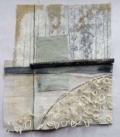 Marshscape Collage #4, Cotton duck, linen, wax, metal, found thread
