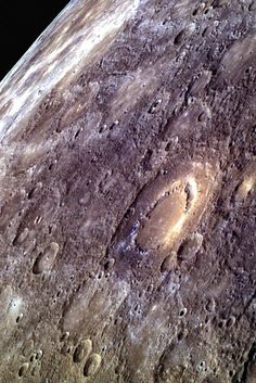 Messenger image of the crater Scarlatti on Mercury.